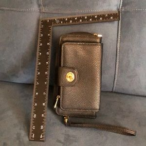 Black wallet with removable wrist strap